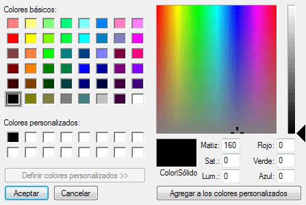 Ventana avanzada para seleccionar color