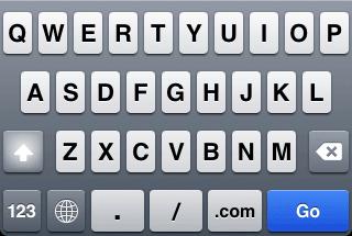 Teclado de iPhone para completar campos de tipo url.